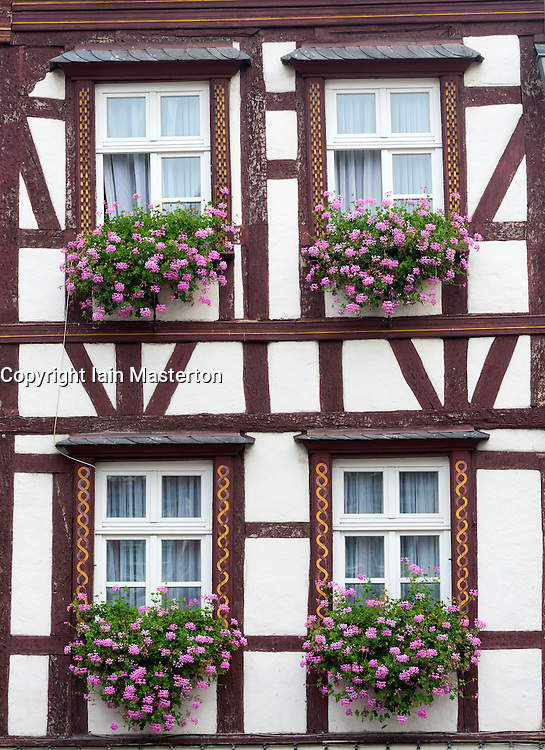 Old half timbered houses in Bernkastel-Kues village on River Mosel in Mosel valley in Germany