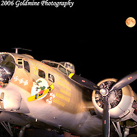 04 October 2006:  A restored and flying B-17 World War II bomber in a light painting in Westminster, MD. This plane is one of only fourteen B-17s still flying in the United States and is maintained by the Collings Foundation.  Exposure was 3 minutes.
