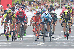 September 24, 2017 - Zhuhai, Guangdong, China - Maris Bogdanovics (Blue Jersey in the Center) from Rietumu Banka Riga wins the fifth and final stage of the 2017 Tour of China 2, the 91.2km Zhuhai Hengqin Circuit Race. .On Sunday, 24 September 2017, in Hengqin district, Zhuhai City, Guangdong Province, China. (Credit Image: © Artur Widak/NurPhoto via ZUMA Press)