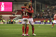Matty Cash (11) & John Bostock (13) of Nottingham Forest celebrate during the EFL Cup match between Nottingham Forest and Derby County at the City Ground, Nottingham, England on 27 August 2019.