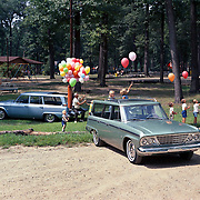 A 1964 Studebaker Daytona Wagonaire and a Commander Wagonaire are shown in this 1964 publicity shot.  The Wagonaire featured Studebaker's exclusive sliding roof.