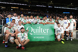 The England team celebrate with the Cook Cup - Mandatory byline: Patrick Khachfe/JMP - 07966 386802 - 24/11/2018 - RUGBY UNION - Twickenham Stadium - London, England - England v Australia - Quilter International