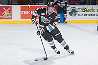 KELOWNA, CANADA - DECEMBER 4: Dillon Dube #19 of Kelowna Rockets warms up with the puck against the Medicine Hat Tigers on December 4, 2015 at Prospera Place in Kelowna, British Columbia, Canada.  (Photo by Marissa Baecker/Shoot the Breeze)  *** Local Caption *** Dillon Dube;