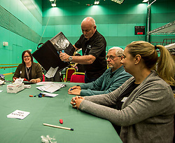 The first postal ballot boxes in the Glenrothes constituency get opened at the Fife counting centre in Glenrothes.<br /> <br /> &copy; Dave Johnston/ EEm