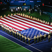 Marines perform a Salute to Heroes at the Indian Wells Tennis Garden in Indian Wells, California Friday, March 11, 2016.<br /> (Photo by Billie Weiss/BNP Paribas Open)