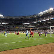Goalmouth action showing a panoramic view of Yankee Stadium during the Manchester City Vs Liverpool FC Guinness International Champions Cup match at Yankee Stadium, The Bronx, New York, USA. 30th July 2014. Photo Tim Clayton