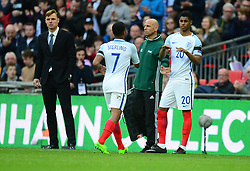 England's Marcus Rashford replaces England's Raheem Sterling - Mandatory by-line: Alex James/JMP - 26/03/2017 - FOOTBALL - Wembley Stadium - London, England - England  v Lithuania - World Cup Qualifiers Group stage