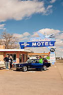 Historic Route 66, Tucumcari, New Mexico, Blue Swallow Motel, 1965 Ford Mustang