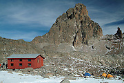 Africa. Kenya. Mount Kenya. The Austrian Hut (4700m) and Batian peak..CD0011