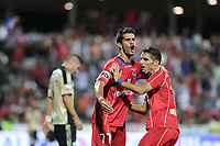 20110812: BARCELOS, PORTUGAL - Gil Vicente vs SL Benfica: Portuguese League 2011/2012, 1st round. In picture: Gil Vicente players celebrating a goal, Joao Vilela. PHOTO: Pedro Benavente/CITYFILES