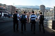 May 25-29, 2016: Monaco Grand Prix. Mclaren mechanics walk back to their hotel on saturday night.