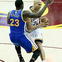 07 June 2017: Golden State Warriors forward Draymond Green (23) defends on Cleveland Cavaliers forward Richard Jefferson (24) during the Golden State Warriors 118-113 victory over the Cleveland Cavaliers, in game 3 of the 2017 NBA Finals, at  the Quicken Loans Arena, Cleveland, Ohio, USA.