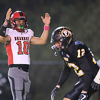 Shannon quarterback Jordan Gulleylen thinks his Red Raiders have scored their two point conversion to take the lead but they came up just short and trailed 7-6 at the half against Pontotoc.