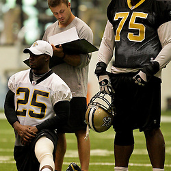 12 August 2009: New Orleans Saints running back Reggie Bush (25) on the field with defensive tackle Rod Coleman (75) during New Orleans Saints training camp at the team's indoor practice facility in Metairie, Louisiana.