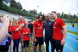 LOS ANGELES, USA - Saturday, May 26, 2018: Wales' captain Ashley Williams and Sam Vokes meet supporters during a training session at the UCLA Drake Track and Field Stadium ahead of the International friendly match against Mexico. (Pic by David Rawcliffe/Propaganda)