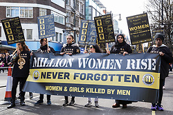 London, UK. 9th March, 2019. Thousands of women and children take part in the annual Million Women Rise march to show solidarity in ending male violence in all its forms against women and girls, to raise awareness of the effects of male violence and to celebrate women's resistance to it.