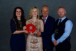 NEWPORT, WALES - Saturday, May 19, 2018: Jess Pascoe and family during the Football Association of Wales Under-16's Caps Presentation at the Celtic Manor Resort. (Pic by David Rawcliffe/Propaganda)
