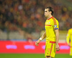 BRUSSELS, BELGIUM - Sunday, November 16, 2014: Wales' Gareth Bale rues a missed chance against Belgium during the UEFA Euro 2016 Qualifying Group B game at the King Baudouin [Heysel] Stadium. (Pic by David Rawcliffe/Propaganda)
