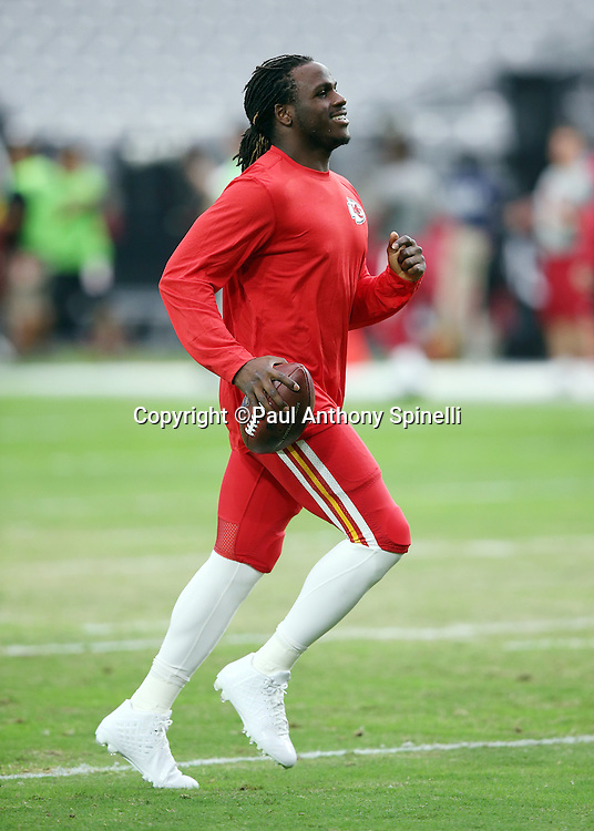 Kansas City Chiefs running back Jamaal Charles (25) jogs down field while warming up before the 2015 NFL preseason football game against the Arizona Cardinals on Saturday, Aug. 15, 2015 in Glendale, Ariz. The Chiefs won the game 34-19. (©Paul Anthony Spinelli)