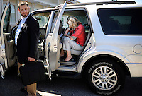 SIMPSONVILLE, SC:  Before going into a political lunch, Ann Romney, wife of republican candidate for president, Mitt Romney, has a private phone conversation in the restaurant parking lot, in Simpsonville, South Carolina, Thursday, September 29, 2011. (Photo by Melina Mara/The Washington Post) . ...