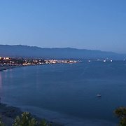 Aerial view at twighlight of Santa Barbara.