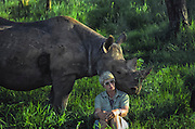 Anna Merz and Samia, black rhino