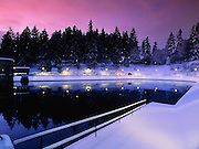 Reservoir 1 after snow, at sunset, Mount Tabor Park, December 2008.  Environmental Protection Agency (EPA) regulation: Long Term 2 Enhanced Surface Water Treatment Rule, referred to as the LT2 rule imposes new requirements that open water reservoirs be covered, buried or additionally treated.  This applies to Portland's five open reservoirs and to the unfiltered Bull Run source supplying them.  Nikon F4, 20/2.8D.  Fuji RVP 50.