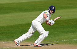 Durham's Mark Stoneman flicks the ball off the bowling of Somerset's Lewis Gregory. - Photo mandatory by-line: Harry Trump/JMP - Mobile: 07966 386802 - 14/04/15 - SPORT - CRICKET - LVCC County Championship - Day 3 - Somerset v Durham - The County Ground, Taunton, England.