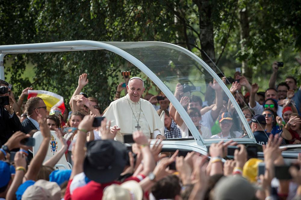 BRZEGI, POLAND 31 JULY; Pope Francis arrival at Campus Misericordiae ŚDM Brzegi Wieliczka