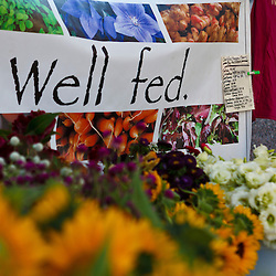 Missy Bahret's Old Friends Farm booth at the Tuesday Market farmer's market in Northampton, Massachusetts.