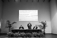 """CALTANISSETTA,  ITALY - 8 FEBRUARY 2013: Renato Schifani, former President of the Senate and candidate for Senate in Silvio Berlusconi's People of Freedom party, rallies in Caltanissetta, Sicily, Italy, on February 8, 2013.<br /> <br /> A general election to determine the 630 members of the Chamber of Deputies and the 315 elective members of the Senate, the two houses of the Italian parliament, will take place on 24–25 February 2013. The main candidates running for Prime Minister are Pierluigi Bersani (leader of the centre-left coalition """"Italy. Common Good""""), former PM Mario Monti (leader of the centrist coalition """"With Monti for Italy"""") and former PM Silvio Berlusconi (leader of the centre-right coalition).<br /> <br /> ###<br /> <br /> ROMA, ITALIA - 8 FEBBRAIO 2013: Renato Schifani, ex Presidente del Senato e candidate al Senato per il Popolo della Libertà di Silvio Berlusconi, durante un comizio a Caltanissetta, Sicilia, l'8 febbraio 2013.<br /> <br /> Accolto dai suoi fans, la maggior parte dei quali pensionati, Silvio Berlusconi ha iniziato dicendo: """"Ah, come ai vecchi bei tempi"""". Ha poi aggiunto """"prima di uscire di casa mi sono guardato allo specchio e ho visto un altro da quello che mi aspettavo e ho dedotto che non fanno più gli specchi belli di una volta''.<br /> Le elezioni politiche italiane del 2013 per il rinnovo dei due rami del Parlamento italiano – la Camera dei deputati e il Senato della Repubblica – si terranno domenica 24 e lunedì 25 febbraio 2013 a seguito dello scioglimento anticipato delle Camere avvenuto il 22 dicembre 2012, quattro mesi prima della conclusione naturale della XVI Legislatura. I principali candidate per la Presidenza del Consiglio sono Pierluigi Bersani (leader della coalizione di centro-sinistra """"Italia. Bene Comune""""), il premier uscente Mario Monti (leader della coalizione di centro """"Con Monti per l'Italia"""") e l'ex-premier Silvio Berlusconi (leader della coalizione di centro-destra)."""