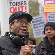 Hundreds of supporters protest for Justice For Windrush - Scrap May's Racist Act Hosted by Stand Up To Racism during the debate in the Parliament on 30 April 2018 at Parliament Square, London, UK.