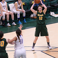 3rd year forward Christina McCusker (12) of the Regina Cougars in action during the home game on November  5 at Centre for Kinesiology, Health and Sport. Credit: Arthur Ward/Arthur Images