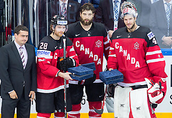 Claude Giroux of Canada, Brent Burns of Canada and Mike Smith of Canada, best players of Canada at the tournament after the Ice Hockey match between Canada and Czech Republic at Semifinals of 2015 IIHF World Championship, on May 16, 2015 in O2 Arena, Prague, Czech Republic. Photo by Vid Ponikvar / Sportida