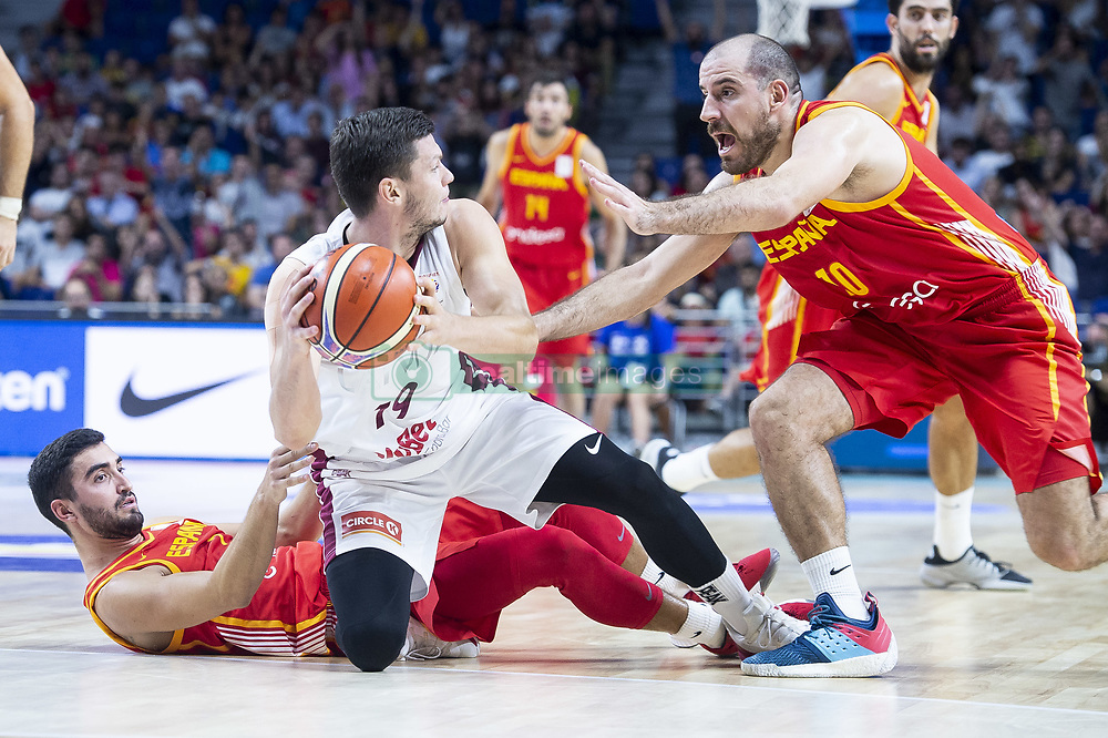 September 17, 2018 - Madrid, Spain - Jaime Fernandez and Joaquin Colom of Spain and Rihards Lomazs of Latvia during the FIBA Basketball World Cup Qualifier match Spain against Latvia at Wizink Center in Madrid, Spain. September 17, 2018. (Credit Image: © Coolmedia/NurPhoto/ZUMA Press)