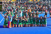 The Ireland team celebrate with their silver medals during the Vitality Hockey Women's World Cup 2018 Finals Gold Medal match between the Netherlands and Ireland, at the Lee Valley Hockey and Tennis Centre, QE Olympic Park, United Kingdom on 5 August 2018. Picture by Martin Cole.