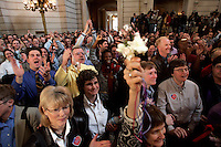 SAN FRANCISCO - FEBRUARY 12: Gay and Lesbian couples who were married last year attend the 1st wedding anniversary bash hosted by Mayor Gavin Newsom in City Hall on Saturday February 12, 2004. Several thousand couples along with their family and friends attended the morning event which will include celebrations throughout the day.  Photograph by David Paul Morris