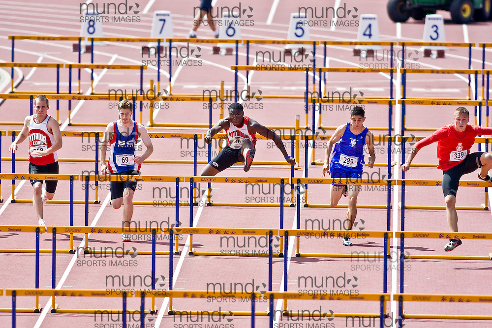 (Sherbrooke, Quebec---9 August 2008) from left to right, Spencer Bell (358), Matthew Daly-Grafstein (69), Oluwasegun Makinde (363), Matthew Bellefontaine (289), and Greg Macneill (339) competing in the youth boys 110m hurdles final at the 2008 Canadian National Youth and Royal Canadian Legion Track and Field Championships in Sherbrooke, Quebec. The photograph is copyright Sean Burges/Mundo Sport Images, 2008. More information can be found at www.msievents.com.