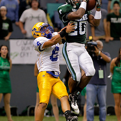 Sep 26, 2009; New Orleans, LA, USA;  Tulane Green Wave wide receiver Jeremy Williams (20) jumps to catch the ball over McNesse State Cowboys safety Jace Peterson (6) at the Louisiana Superdome. Tulane defeated McNeese State 42-32. Mandatory Credit: Derick E. Hingle-US PRESSWIRE