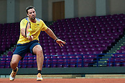 Patrick Rafter - captain of Australia team while trening session four days before the BNP Paribas Davis Cup 2013 between Poland and Australia at Torwar Hall in Warsaw on September 09, 2013.<br /> <br /> Poland, Warsaw, September 09, 2013<br /> <br /> Picture also available in RAW (NEF) or TIFF format on special request.<br /> <br /> For editorial use only. Any commercial or promotional use requires permission.<br /> <br /> Photo by &copy; Adam Nurkiewicz / Mediasport