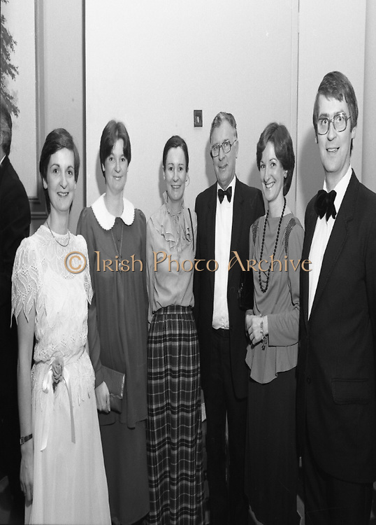 "People Of The Year Awards.1984..26.11.1984..11.26.1984..26th November 1984..The Tanaiste and Minister For Energy,Mr Dick Spring, presented a silver medallion and a scroll to eight men and one woman who were deemed to be ""People of the Year""..The nine were selected by a panel of media editors.The awards were sponsored by New Ireland Assurance,Plc and presented at The Burlington Hotel,Dublin.The winners were:..Mr John Bermingham for his work in rehabilitating the physically and mentally handicapped..Ms Maeve Calthorpe for inspired work with the blind and visually impaired..Mr John Hume for his contribution to peace,democracy and the new Ireland Forum..Mr Patrick O'Connell, for fortitude in the face of grave illness and for fund raising..Drs Prem Puri and Barry O'Donnell,for their contribution to Medical Science..Mr Michael O'Hehir, for his contribution to broadcasting..Mr Fergal Quinn, for dynamic management in the public and private sectors..The special adjudicators award was given to Mr John Parker for his work in revitalising Harland and Wolff shipyard...Photograph of Mr  John Bermingham with his proud family after his acceptance of the award for his work with the physically and mentally handicapped."