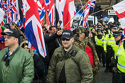 London, April 1st 2017. Protesters from nationalist and anti-Islamic group Britain First demonstrate in London following the Westminster terror attack of March 22nd.