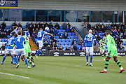Forest Green Rovers Jake Gosling(31) free kick is headed clear by Macclesfield's Mitch Hancox during the FA Trophy match between Macclesfield Town and Forest Green Rovers at Moss Rose, Macclesfield, United Kingdom on 4 February 2017. Photo by Shane Healey.