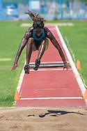 Paralympian Yosiry Urrutia Chaverra attempts a  Triple Jump