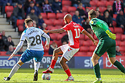 Charlton Athletic midfielder Josh Parker (10) taking on Rochdale midfielder Aaron Morley (28) during the EFL Sky Bet League 1 match between Charlton Athletic and Rochdale at The Valley, London, England on 4 May 2019.