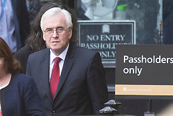 © Licensed to London News Pictures. 02/10/2019. London, UK. Shadow Chancellor of the Exchequer John McDonnell (r) walks in Parliament. Photo credit: George Cracknell Wright/LNP