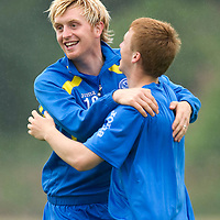 St Johnstone Training....20.08.10<br /> Liam Craig pictured during training this morning with Liam Caddis ahead of tomorow's game against Aberdeen.<br /> see story by Gordon Bannerman Tel: 07729 865788<br /> Picture by Graeme Hart.<br /> Copyright Perthshire Picture Agency<br /> Tel: 01738 623350  Mobile: 07990 594431