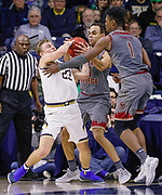 SOUTH BEND, IN - JANUARY 12: Dane Goodwin #23 of the Notre Dame Fighting Irish fights for the ball with Jordan Chatman #25 of the Boston College Eagles at Purcell Pavilion on January 12, 2019 in South Bend, Indiana. (Photo by Michael Hickey/Getty Images) *** Local Caption *** Dane Goodwin; Jordan Chatman