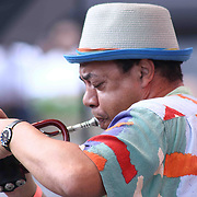 American Jazz trumpet player Duke Jones performs during the 27th DuPont Clifford Brown Jazz Festival Saturday, June 20, 2015, at Rodney Square in Wilmington, Delaware.