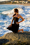 Girl in Black Dress at Aliso Viejo Beach